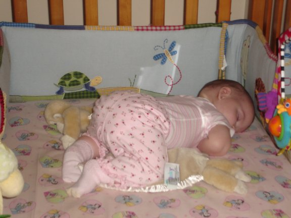 Jenna asleep on her stomach.